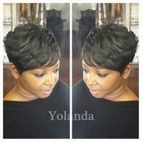 Wholesale hot short hairstyles - 7A Hot Charming short bob cut wigs with baby hair glueless virgin brazilian short full lace human hair wigs bob for black women