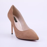 Wholesale Wholesale Lady Stiletto Shoes - HEYIYI Women Shoes Sexy Ladies' Suede Pink Green Dress Pump Pointed Toe High Heel Suede Leather Party Dress Slip-On Stiletto Wholesale
