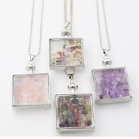 Wholesale Necklace Crystal Bottle Pendant Chain - 2017 crystal color Broken stone square wishing bottle long chain leather Necklace original natural stone Pendant Necklace for women Jewelry