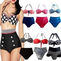 ingrosso alto perno in vita su bikini-Bikini a vita alta Cutest Retro Pin Up Costumi da bagno Polka Dot Stripe Bandage Push Up Costume da bagno Donna Summer Bikini Beachwear OOA1953