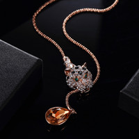 Wholesale Leopard Necklace Gold - ashion Jewelry Necklace New Viennois Fashion Jewelry Rose Gold Alloy Leopard Pendant Necklaces for Woman Orange Crystal Full Rhinestone P...