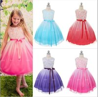 Wholesale Chinese Red Formal Dress - 4 color 3D stereo flower Princess girls dress 2017 NEW ARRIVAL Beautiful Princess Girl Dress grenadine Dresses