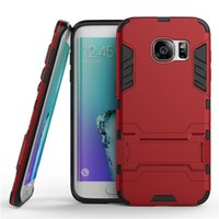 Wholesale Dual Layer Holster Case Galaxy - Iron Man Case For Galaxy S7 Premium Belt Clip Holster Kickstand Card Holder Bumper Full-body Dual Layer Cover For Galaxy S7 S7 Edge