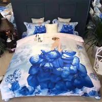 ingrosso lenzuola floreali di cotone di queen size-100 cotone 3D fiore Floral Bedding Imposta olio stampa girasole copripiumino lamiera piana Federe / Twin Full Queen King Size