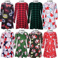 Wholesale Xmas Fashion - Fashion Women Dress Long Sleeve Santa Claus Dresses Gift Christmas Xmas Flared Dress for Women girls swing Casual Mini Dress