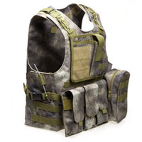 ingrosso maglia tattica gratuita-Camouflage Caccia Tactical Vest Wargame Corpo Molle Armatura Caccia Gilet CS Attrezzature Outdoor Jungle con 7 Colori Spedizione Gratuita B
