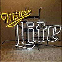 Miller Lite Neon Light Sign Real Glass Tube Beer Bar Pub Neon Light Sign Handicrafted 19x15