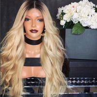 beyaz sarışın insan saç perukları toptan satış-100% insan saçı tam dantel sarışın peruk ombre renk 1b 613 iki ton vücut dalga ön dantel peruk koyu kök bebek saç beyaz kadın