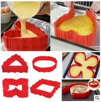 Wholesale Silicone Cake Mould Set - Cake Bake Snake Cooking Moulds Cake Mold DIY Silicone Cake Baking Square Round Shape Mold Magic Bakeware Bake Pastry Tools 4 Pcs set