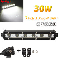 Wholesale cree offroad lights - Slim 7 Inch 3000LM Spot LED Single Row Work Light Bar OFFROAD DRIVING SUV High Intensity 30W CREE LED CLT_41N