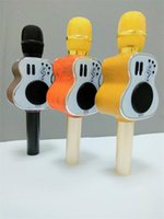 Wholesale Guitars Songs - 2017 Wooden Guitar design M9 Bluetooth Karaoke Microphone Speaker KTV Singing Song Handheld Mic with Loudspeaker