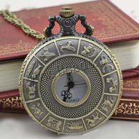 reloj de bolsillo del zodiaco al por mayor-Al por mayor-2016 Nuevo reloj de bolsillo retro de bronce Diseño de moda joyería del zodiaco Relojes Collar colgante de regalo Dropshipping