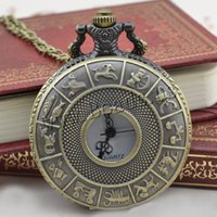 Wholesale Stainless Zodiac Pendant - Wholesale-2016 New Bronze Retro Pocket Watch Fashion Design zodiac jewelry Watches Necklace Pendant Gift Dropshipping