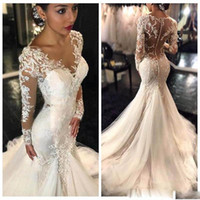 Wholesale Tulle Fishtail Wedding Dresses - 2017 New Sheer Sexy Lace Mermaid Wedding Dresses Dubai African Arabic Petite Long Sleeves Natural Slim Fishtail Bridal Gowns Custom made