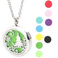 Wholesale Christmas Pendants Necklace - New Design Christmas Trees Aromatherapy Essential Oil surgical Stainless Steel Perfume Diffuser Locket Necklace with chain and pads