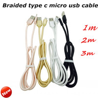 Wholesale Wholesale Aluminium Wire - Universal Aluminium Braided TYPE C Micro USB Cable Data Sync Charger Cord 1M 2M 3M 2A Fast Charging Wire For HTC Samsung Smartphone