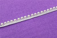 Wholesale Fake pearl beads embroidered lace trim ribbon for garment decoration and DIY craft collar lace trimming Times