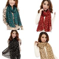 Wholesale Men Scarve - Wholesale- Coolbeener New Stylish Girl Long Soft Silk Chiffon Scarf Wrap Polka Dot Shawl Scarve For Women Dec6