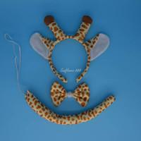 Wholesale Giraffe Ears Headbands - Wholesale- Party Giraffe Animal Tail Ear Horn Headband Bow Tie Wedding for Children Adult Halloween Christmas
