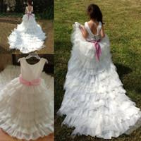 Wholesale first comunion dresses online - Elegant Long Train First Communion Dresses for Girls Backless Scoop Flower Girl Dress for Weddings vestidos comunion