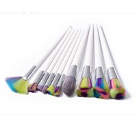 Wholesale vip kit - Hot sale high quality colorful hair white handle 10pcs makeup brushes makeup tools free shipping dhgate vip seller