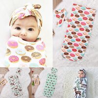 Wholesale Baby Feather Headbands Wholesale - Baby Sleeping Bags Headband Deer Donut Feather Print Children Cotton Swaddle Blankets Newborn Fashion Infant Set New