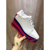Wholesale Colorful Platforms - new arrival women colorful platform lace-up sneakers white platform shoes lady fashion real leather wedge dress shoes