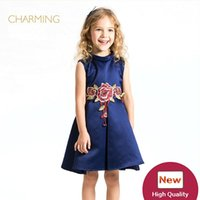 Wholesale Clothes For Girl China - Navy blue dress for girls Designer children s clothing Quality printing high necked sleeveless dress Best wholesale suppliers from china
