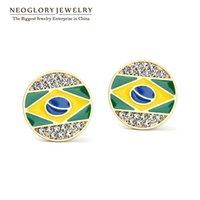 Wholesale Brazil Earrings - Brazil Flag Austria Rhinestone Gold Plated Neoglory Stoving Varnish Designer Enamel Stud Earrings For Women 2017 New Fashion