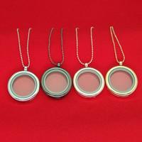 medallones de cristal de encanto flotante al por mayor-Medallón flotante colgante, collar de mujer, memoria magnética, cristal flotante, medallón con cadenas de cuentas, collares DIY, envío directo