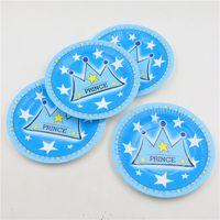 Wholesale Blue Paper Plate - Wholesale-kids boys birthday decorations prince blue crown theme disposable paper plates cake dishes baby shower favors 10pcs lot