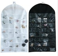 Wholesale 32 Doors - 32 Pockets Jewelry Hanging Organizer Earrings Necklace Jewelry Display Holder Dual Sided Jewellery Storage Bag Display Pouch