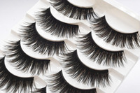 Wholesale Brown Coloured Hair - Ultra Long Soft 5 Pairs Double Colour brown+Black Soft Thick Cross False Eyelashes Eye Lashes Makeup Extension Tools