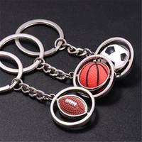 fußball neuheit geschenke großhandel-Basketball Keychain Männer Mini Simulation Drehbare Ball Fußball Golf Schlüsselanhänger Schlüsselanhänger für Männer Auto Schlüsselanhänger Neuheit Weihnachtsgeschenk