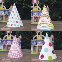chapeau de joyeux anniversaire achat en gros de-Nouveau 100 pcs / lot Enfants Joyeux Anniversaire Mots Cap Adulte Partie Star Dots Motif Célébration Chapeau Parti Décoration Chapeaux Chapeaux