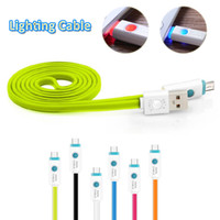100CM Tipo C Cable de luz LED Cable de carga rápida con indicador LED Carga de datos de sincronización Cable USB parpadeante para Android Mobiles Jelly Colors