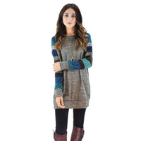 Wholesale Long Casual Blue Dress - Women Dress New Autumn Winter Long Sleeve O Neck Striped Patchwork Casual Cotton Yellow Blue Party Plus Size Women Clothing