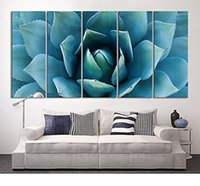 Wholesale Extra Flowers - Large Wall Art Blue Agave Canvas Prints Agave Flower Large Art Canvas Printing Extra Large Canvas Wall Art Print 60 Inch Total