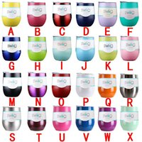 Wholesale Wholesale Boxed Wine - New 9oz Stemless Swig Egg Cup 24 colors A-Z with label stainless steel Wine Glass with retail box in stock
