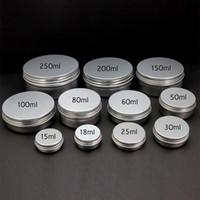 alüminyum kapak kavanozları toptan satış-Boş Kozmetik Pot Kalay Alüminyum Konteyner 15g 30g 50g 60g 80g 100g 150g 200g 250g Vida kapağı Nail Art Krem Kavanoz