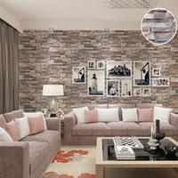 Großhandel  Küche 3D Effekt Prägeartig Ziegelstein Stein Tapete Vinyl Natur  Braun Grau Ziegel Wand Papierrolle
