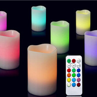Wholesale Colour Change Candles - Romantic Home Decor 3 X Colour Changing Led Light Flameless Wax Candles With Timer &Remote Popular #81527