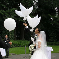 Wholesale Dove Balloons - Wholesale 500pcs lot white bio dove pigeons bird helium balloons wedding party event decorations Free Shipping