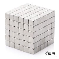 Wholesale Magnetic Beads 4mm - Wholesale- 126Pcs Magnet Beads Magnetic Cube 4mm Square Cubo Magico Balls Creative Toys for Children - Silvery