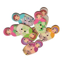 Wholesale Random Buttons - Kimter Random Mixed Russian Dolls Wooden Sewing Buttons With 2 Holes 3x1.6cm For Art Crafts Creative Dressmaking Pack Of 30pcs I695L
