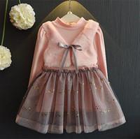 Wholesale Tutus Dress Pink - Baby Girl Pink Tutu Dresses Toddler Kids Girls Tulle Dress 2017 Autumn Princess Full Sleeve Dress For Party Children Clothing Costume S392