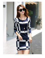 Wholesale Tight Silk Dresses - Ladies Dress two-piece Casual Dress long sleeved Tight dress Sweater package hip skirt suit women OL business wear