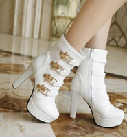 Wholesale High Heel Boots 43 - Wholesale New Arrival Hot Sale Specials Super Influx Warm Knight Plush Sweety Noble Roman Martin Buckle Platform Heels Ankle Boots EU34-43
