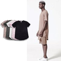Wholesale Oversized Womens Shirts - Kanye west hip hop t shirt mens oversized swag clothes pink extended tee shirts womens harajuku rock kpop tshirt homme
