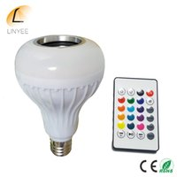 Wholesale E27 Led Blue - 2017 E27 Smart RGBW Wireless Bluetooth Speaker Bulb Music Playing Dimmable 12W LED Bulb Light Lamp with 24 Keys Remote Control